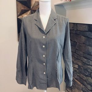 Ralph Lauren B & W Checkered Silk Blouse